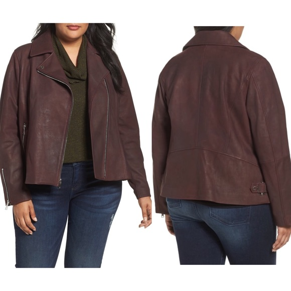 d343fca4d2850 T Tahari Plus Size Skylar Leather Moto Jacket